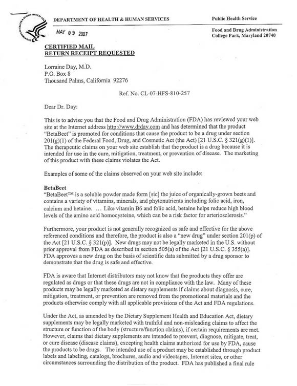 scanned fda letter