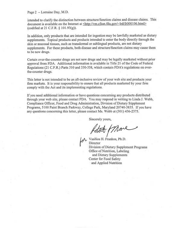 Dr. Day receives warning letter from FDA